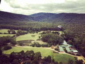 Aerial Image of Cave Hill Creek camp and surrounds from a hot air balloon in the sky (original image)