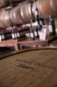 Close up image of a Michael Unwin wine barrel